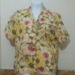 Kim Rogers XL floral button down short sleeve